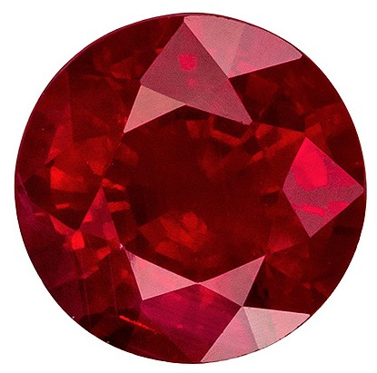 Superb Large Round Ruby Gemstone in 1.41 carat, Vivid Red Color in 6.6 mm Size
