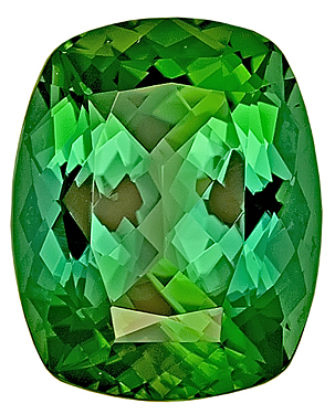 Superior Brilliance - Luminous Green Tourmaline Genuine Gemstone for SALE,  Antique Cushion Cut, 15.2 x 12.2 mm, 10.41 carats