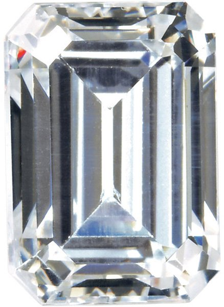 Loose Quality Faceted Colorless Enhanced Cubic Zirconia Gem in Emerald Shape Sized 5.00 x 3.00 mm