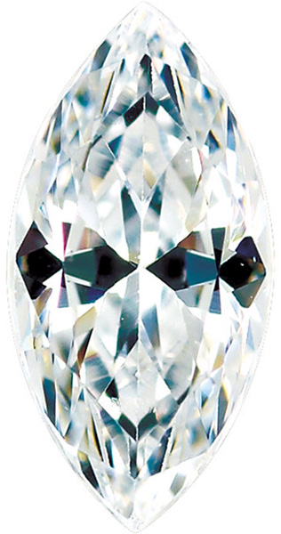Loose Quality Faceted Colorless Enhanced Cubic Zirconia Gem in Marquise Shape Sized 6.00 x 3.00 mm