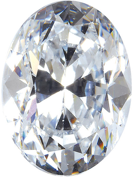 Genuine Colorless Enhanced Cubic Zirconia Gemstone in Oval Shape Sized 7.00 x 5.00 mm