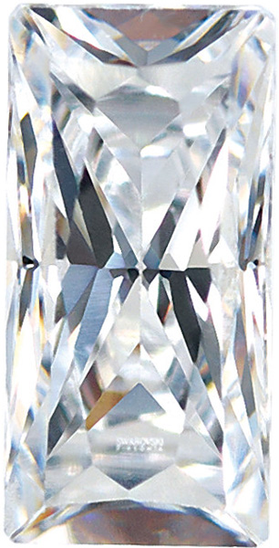 Genuine Colorless Enhanced Cubic Zirconia Gemstone in Baguette Shape Sized 6.00 x 3.00 mm