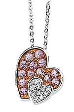 Sweet .53ct 1.9mm Pink Sapphire & Diamond Heart Necklace set in 14 karat White Gold for SALE - Free Chain