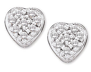Sweet and Pretty 1/10 ct 14k White Gold Diamond Heart Earrings for SALE