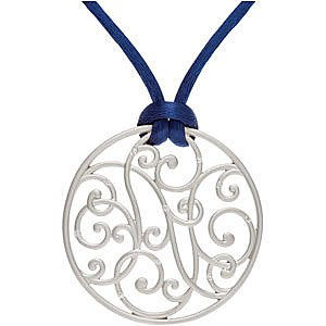 Swirly Curly Medallion Pendant With 1/10 ct Inlaid Diamonds - Choose Your Silk Cord Color