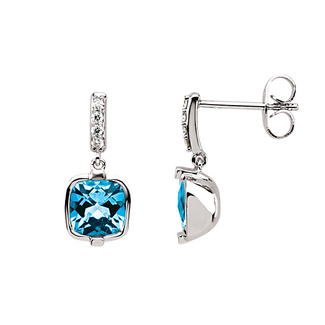 Gorgeous Swiss Blue Topaz & Diamond Earrings
