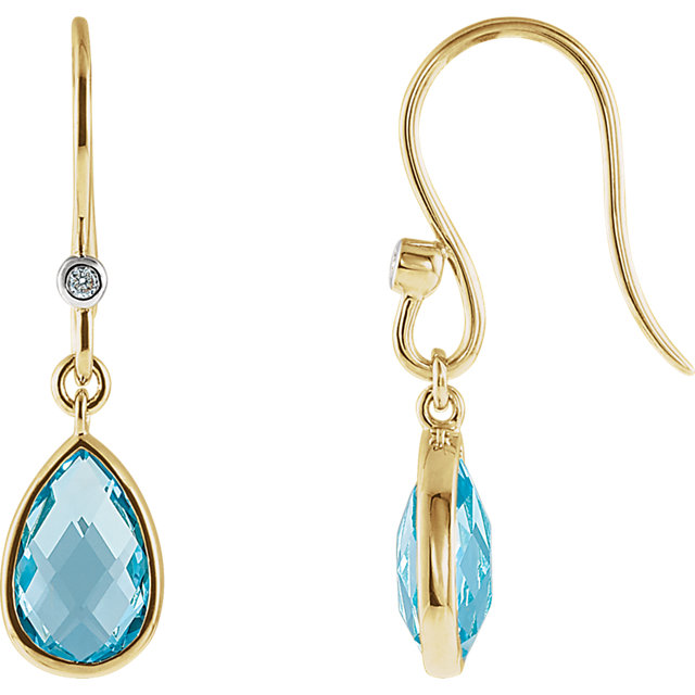 Great Gift in Swiss Blue Topaz & Diamond Earrings