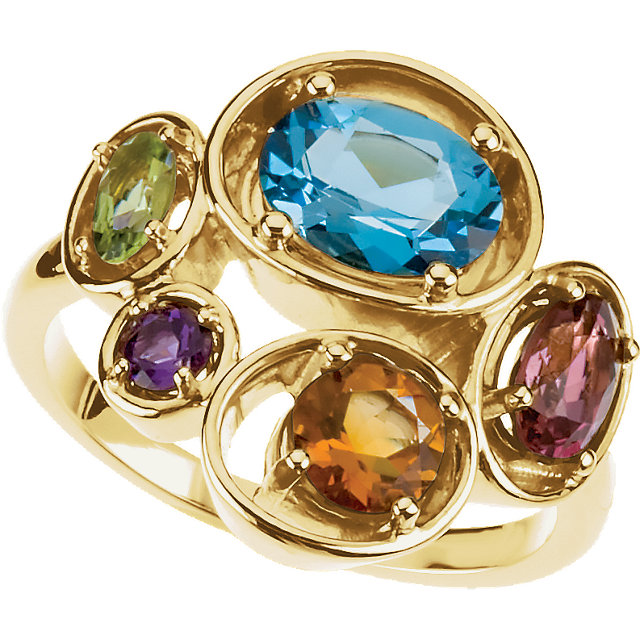 Great Gift in 14 Karat Yellow Gold Multi-Gemstone Ring