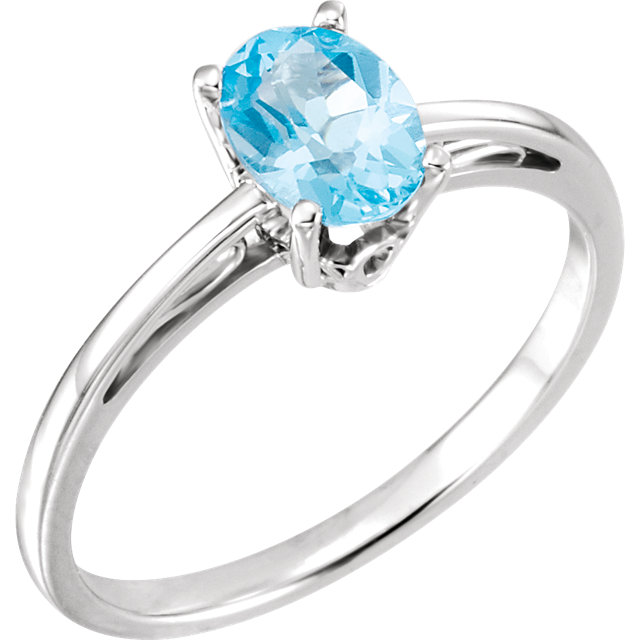 Wonderful Oval Genuine Swiss Blue Topaz Ring