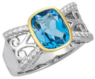 Swiss Blue Topaz Rope Design Ring