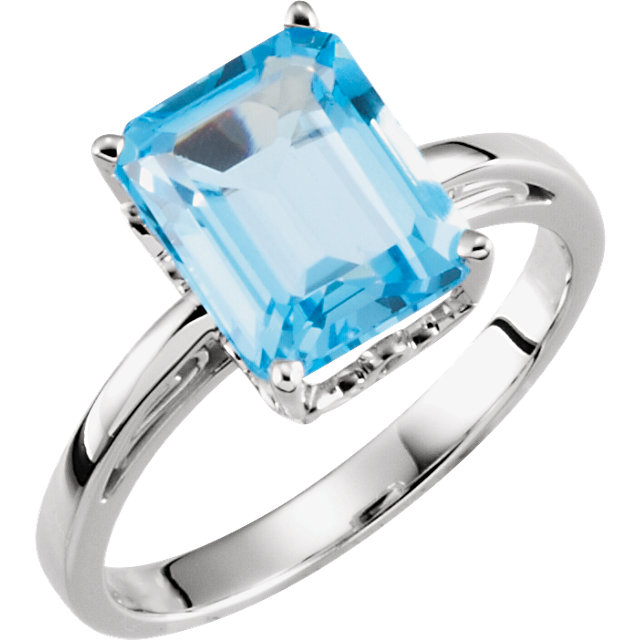 Spectacular Emerald Genuine Swiss Blue Topaz Scroll Ring