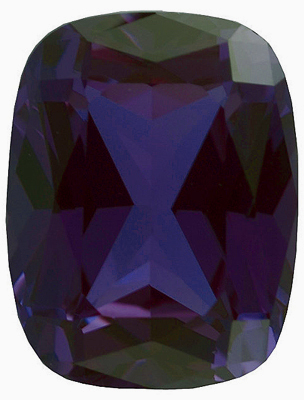 Synthetic Chatham Created Alexandrite Stone, Antique Cushion Shape, Grade GEM, 9.00 x 7.00 mm in Size, 2.7 Carats