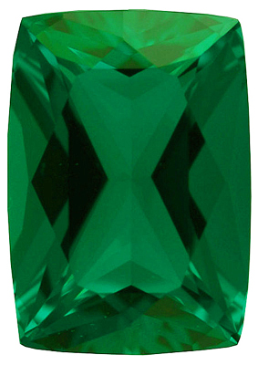Synthetic Chatham Created Emerald Gemstone, Antique Cushion Shape, Grade GEM, 7.00 x 5.00 mm in Size, 0.7 Carats