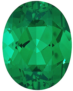 Synthetic Chatham Created Emerald Gemstone, Oval Shape, Grade GEM, 12.00 x 10.00 mm in Size, 4.2 Carats
