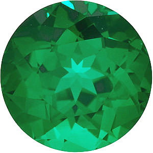 Synthetic Chatham Created Emerald Gemstone, Round Shape, Grade GEM, 6.50 mm in Size, 1 Carats