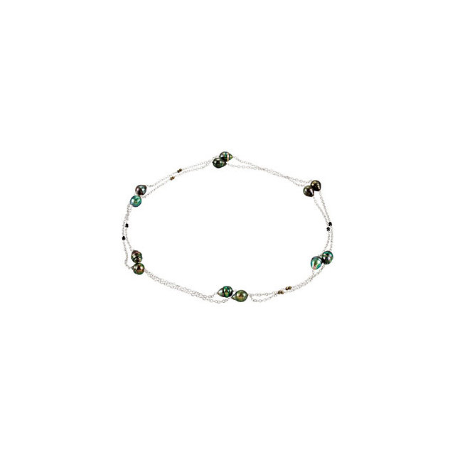 Easy Gift in Sterling Silver Tahitian Cultured Pearl & Black Spinel 48