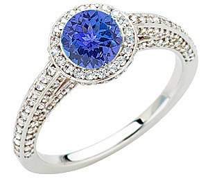 Tanzanite Bling - Lots of Diamonds Surround a AAA Deep Colored 1 CARAT 6mm Round Genuine Tanzanite Gold Ring