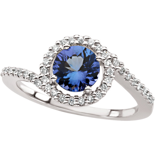 Genuine Tanzanite & Diamond Accented Ring