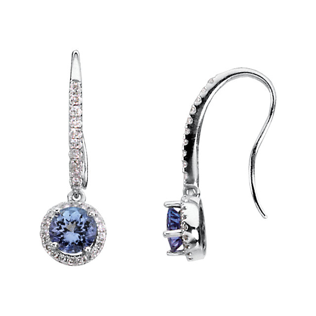 Tanzanite & Diamond Halo-Style Earrings