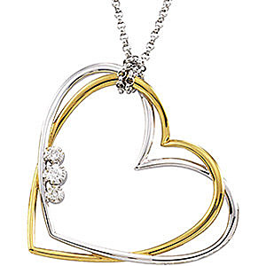 Tasteful Two-Tone 14k White and Yellow Gold Double Heart Pendant with Three Stone .07ct Diamond Accents - FREE Chain
