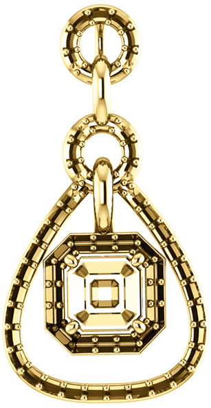 Tear DropStyled Pendant Mounting with Articulated Dangle for Asscher Gemstone Size 5mm to 7mm