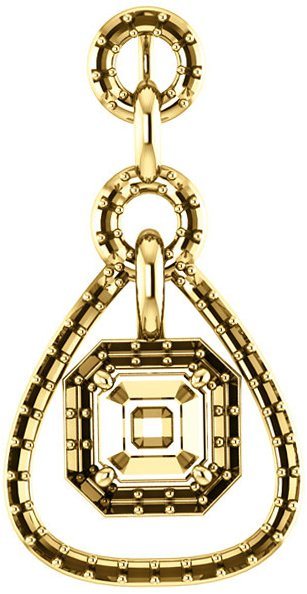 Tear Drop-Styled Pendant Mounting with Articulated Dangle for Asscher Centergem Sized 5.00 mm to 7.00 mm - Customize Metal, Accents or Gem Type