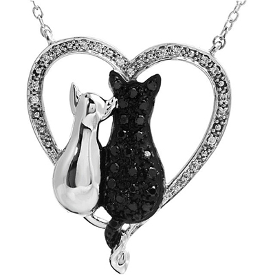 Tender Cat Heart Pendant in Sterling Silver With .2ct 0.9-1.3mm Black & White Diamonds for SALE - Free Chain Included