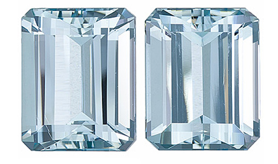 Terrific Cut and Clarity! Well Matched Pair of Brazilian Aquamarine Gems, Emerald Cut, 7.03 Carats