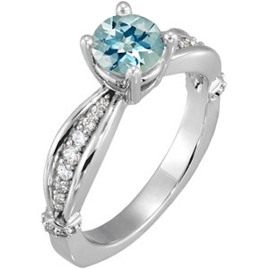 Terrific Style in 1 carat 6mm Aquamarine Solitaire Engagement Ring - Dazzling Diamond Accents