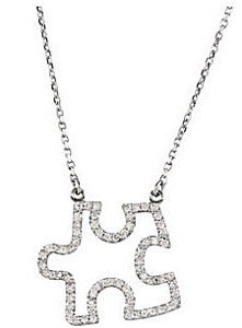 The Missing Piece! - Unique 1/3ct Diamond Studded Puzzle Piece Pendant - FREE Chain Included