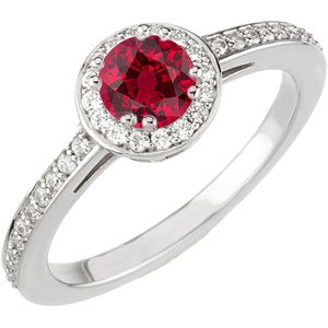 The Perfect Red Red Genuine Fine .76ct 4.5mm Ruby & Diamond Engagement Ring in White Gold for SALE