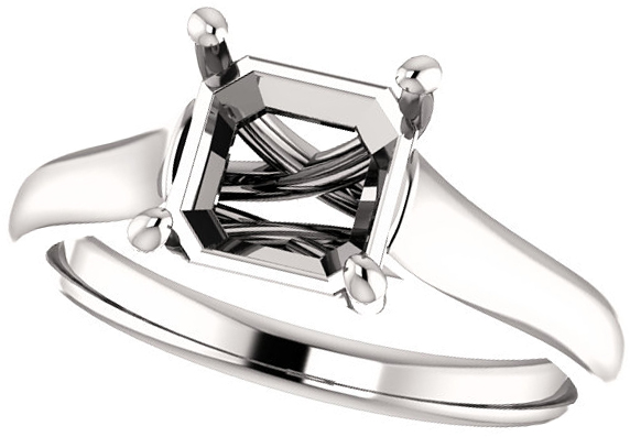 Thick Band Solitaire Ring Mounting for Asscher Shape Centergem Sized 5.00 mm to 7.00 mm - Customize Metal, Accents or Gem Type