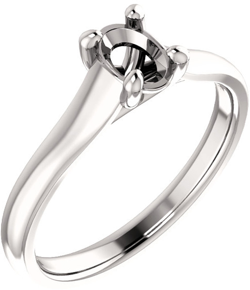 Thick Band Solitaire Ring Mounting for Oval Shape Centergem Sized 6.00 x 4.00 mm to 12.00 x 10.00 mm - Customize Metal, Accents or Gem Type