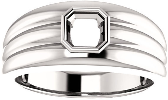 Thick Grooved Band Bezel Set Solitaire Men's Ring Mounting for Asscher Gemstone Size 5mm to 10mm