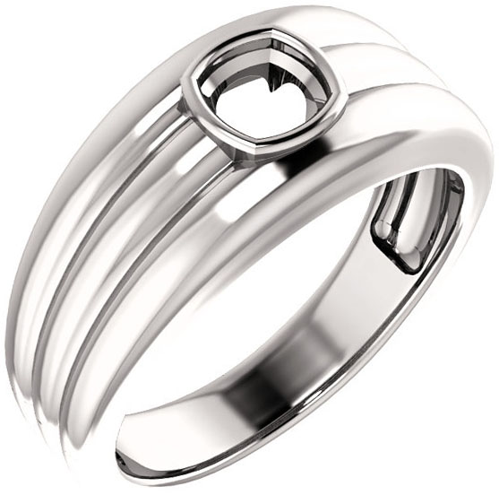 Thick Grooved Band Bezel Set Solitaire Men's Ring Mounting for Cushion Shape Centergem Sized 5.00 mm to 15.00 mm - Customize Metal, Accents or Gem Type
