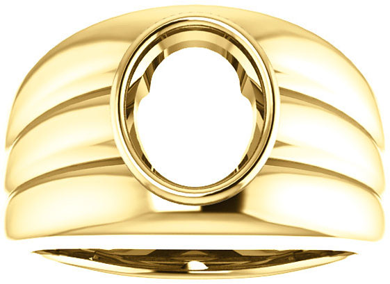 Thick Grooved Band Bezel Set Solitaire Men's Ring Mounting for Oval Shape Centergem Sized 6.00 x 4.00 mm to 16.00 x 12.00 mm - Customize Metal, Accents or Gem Type