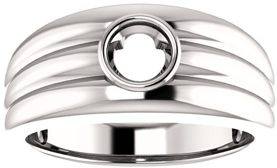 Thick Grooved Band Bezel Set Solitaire Men's Ring Mounting for Round Gemstone Size 4.10mm to 15mm