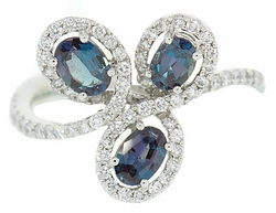 Three Gorgeous .85 cts 6x4mm Alexandrite Gems Artfully Surrounded By Diamonds - Platinum Ring