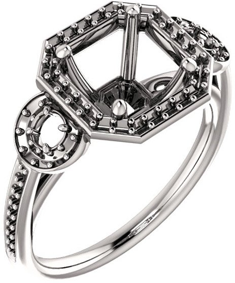 Three Stone Halo Engagement Ring for Asscher Shape Centergem Size 5.00 mm to 7.00 mm - Customize Metal, Accents or Gem Type