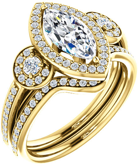 Three Stone Halo Engagement Ring for Marquise Shape Centergem Sized 6.00 x 3.00 mm to 10.00 x 5.00 mm - Customize Metal, Accents or Gem Type