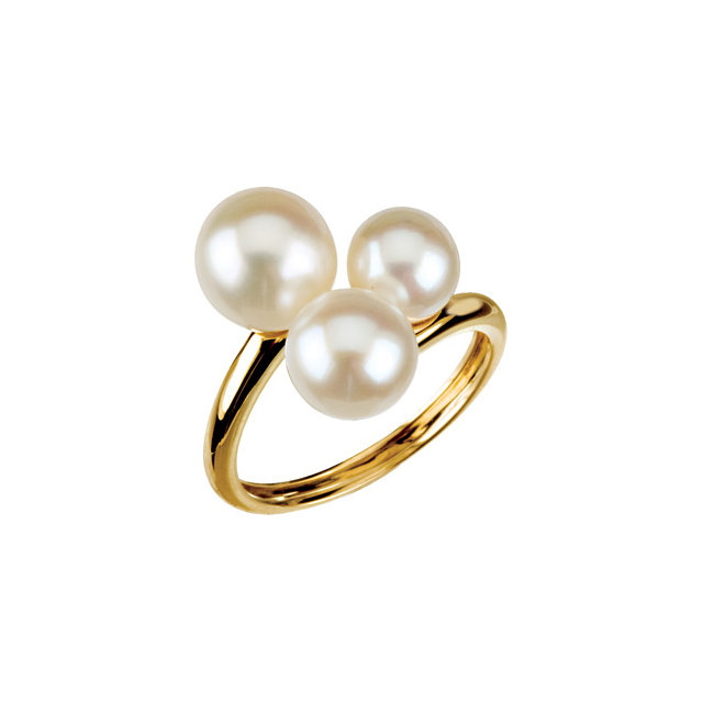 Great Deal in Three-Stone Ring for Pearl