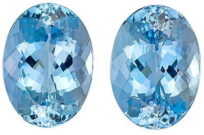 Top Color GEM Blue, Very Well Cut Pair of Aquamarine Gemstones, Oval Cut, 11.66 Carats