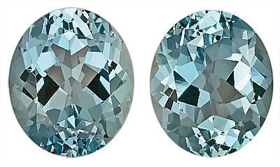 Top Color - Gorgeous Pair of Blue Aquamarine Natural Gemstones, Oval Cut, 9.68 carats,