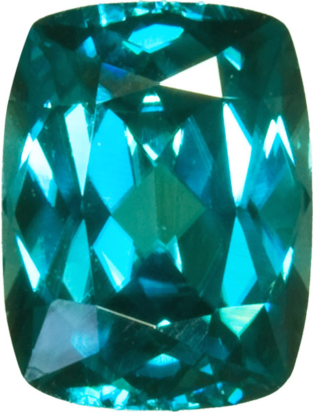 Top Electric Blue Zircon Gem in Antique Cushion German Cut, Bright Neon Color in 8.8 x 6.7 mm, 3.02 Carats
