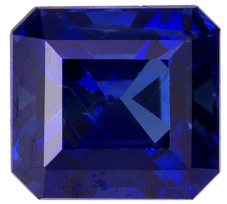Top Gem No Heat Blue Sapphire Genuine Ceylon Gemstone - Gorgeous High Quality Gem, Emerald Cut, 5.7 x 5.3 mm, 1.11 carats