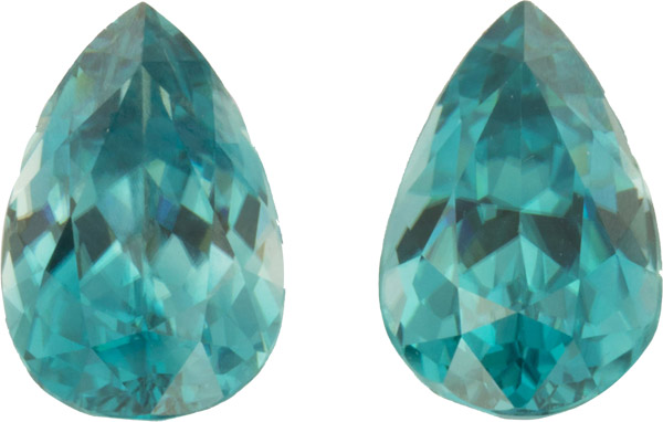 Top Quality 17.03 carats, 14.30 x 9.40 mm Pair of Genuine Zircon Gemstones in Pear Cut