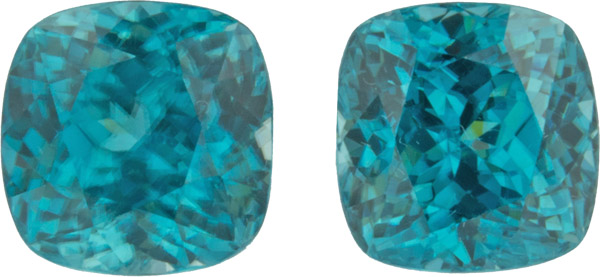 Stunning 9.83 carats, 8.70 x 8.40 mm Pair of Genuine Zircon Gemstones in Antique Cushion Cut