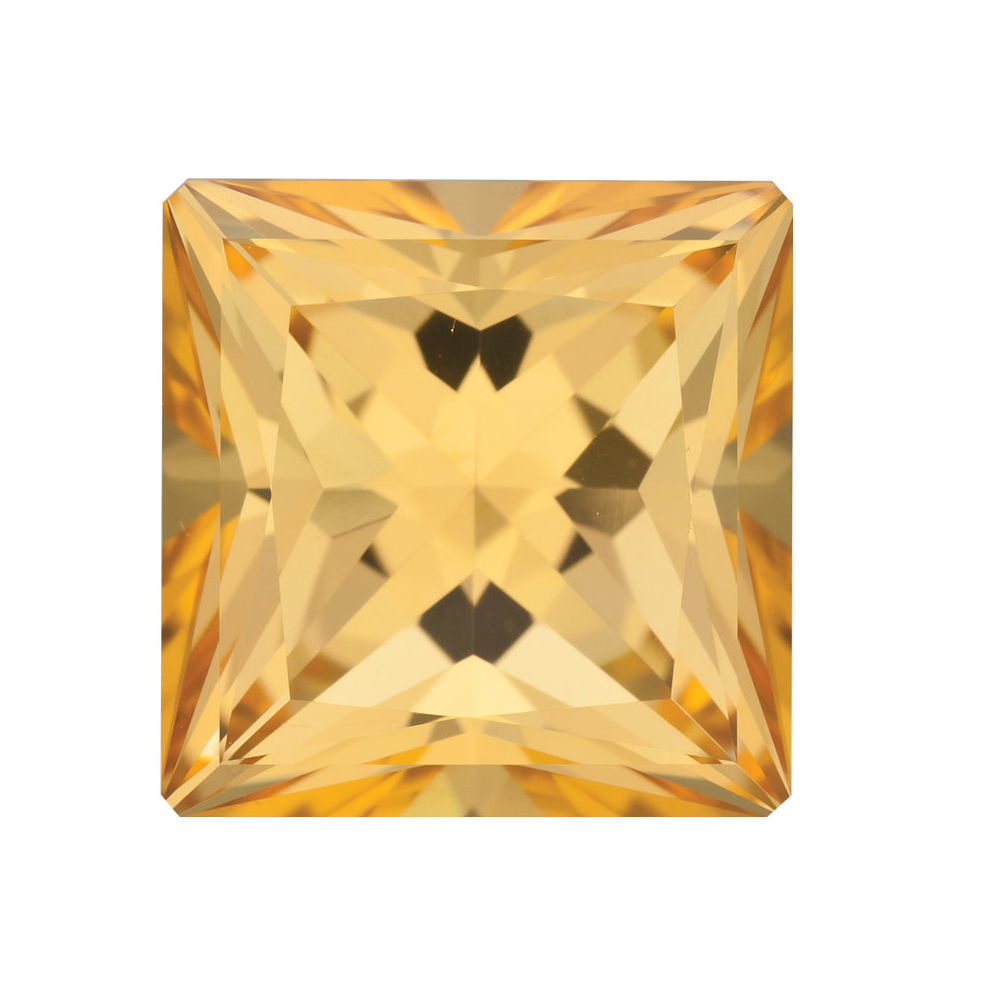 Top Quality Cut Real Princess Shape Honey Passion Topaz Gemstone Grade AAA, 7.00 mm in Size