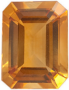 Fine Genuine Standard Size Emerald Shape Citrine Gemstone Grade AA, 14.00 x 10.00 mm in Size, 7.35 carats
