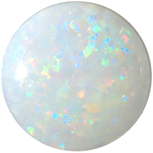 Top Quality Genuine Natural Round Shape Cabochon White Fire Opal Gemstone Grade AAA, 5.50 mm in Size, 0.41 carats